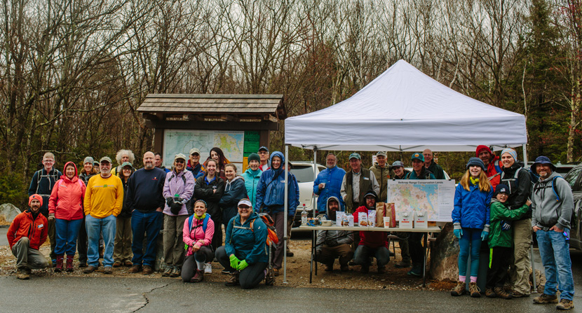 Volunteers at Mt Major Trailhead prepare for the annual Earth Day Spring Clean Up