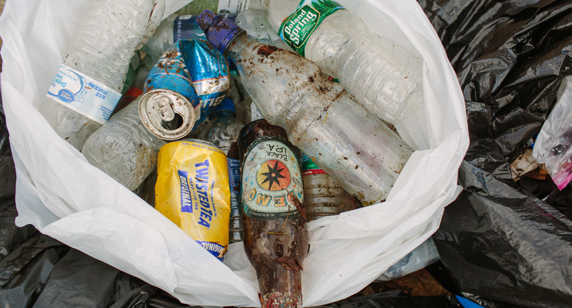 Recyclables are a common trash item at recreation areas like Mt. Major.