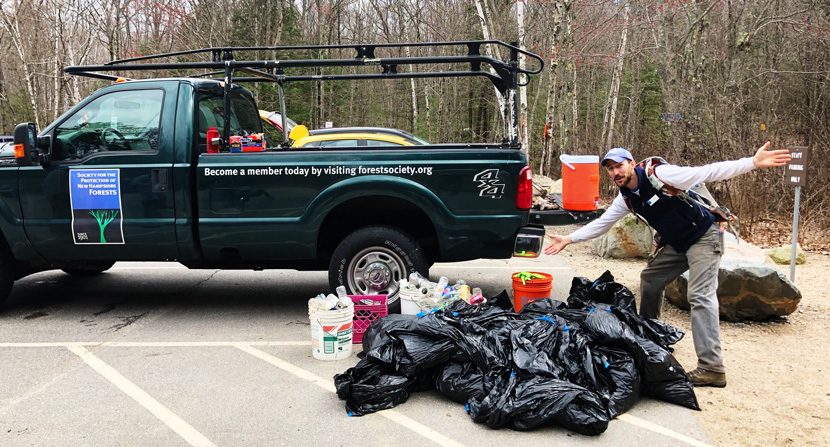 A pile of litter and trash that volunteers picked up from the Mt Major parking lot, trails and summit area.