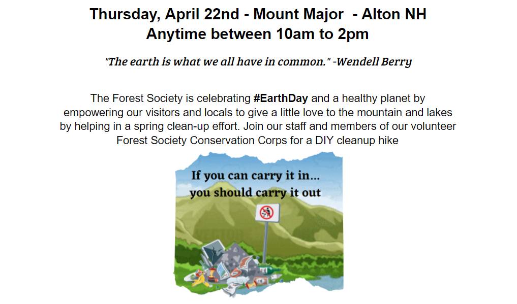 April 22nd DIY Trash Challenge @ Mount Major