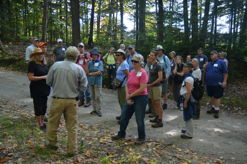 Visitors learn about working forests at a Muster Field Farm guided tour