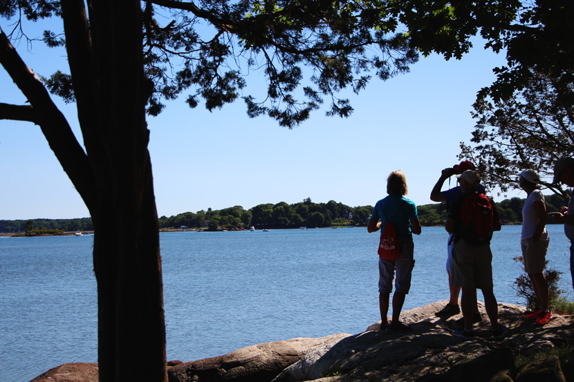 Visitors enjoy the view of Little Harbor in Portsmouth from the Forest Society's Creek Farm Reservation