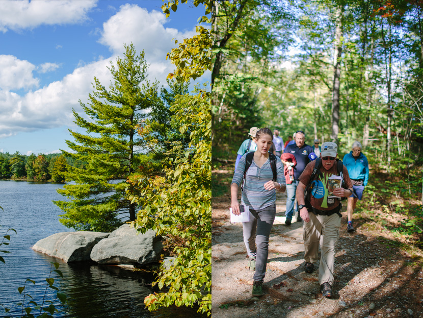 Rocky shore and hikers explore the recreational trails at Tower Hill Pond in Auburn, NH