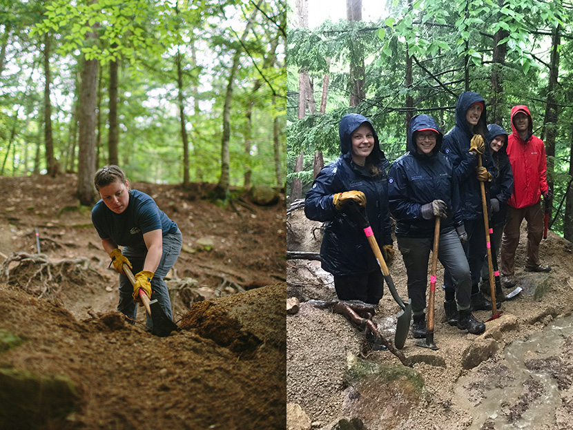 Lakes Region Conservation Trust Americorps trail crew joined volunteers from all over the state for the Mount Major Service Day last month.