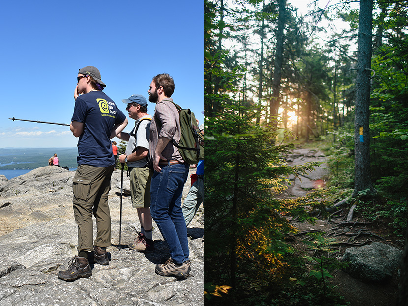 Forest Society and partner staff assess summit and trail conditions at Mount Major Reservation