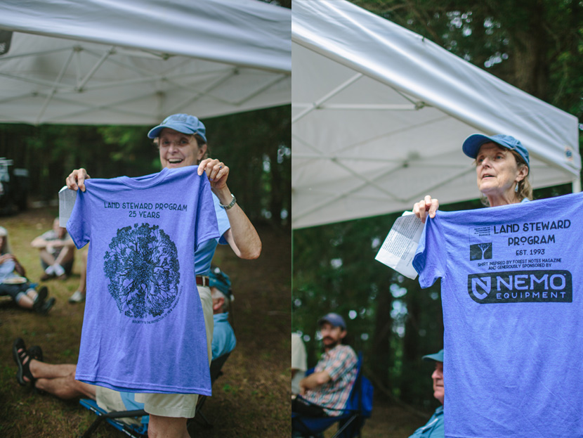 A commemorative t-shirt design celebrates 25 years of the Forest Society's Land Steward program