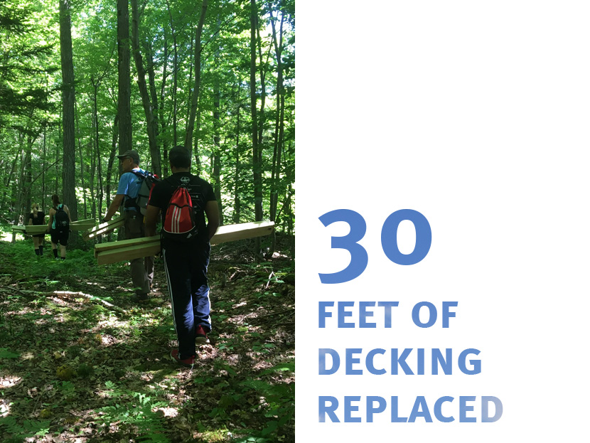 Many hands make light work when it comes to hiking in new deck boards!
