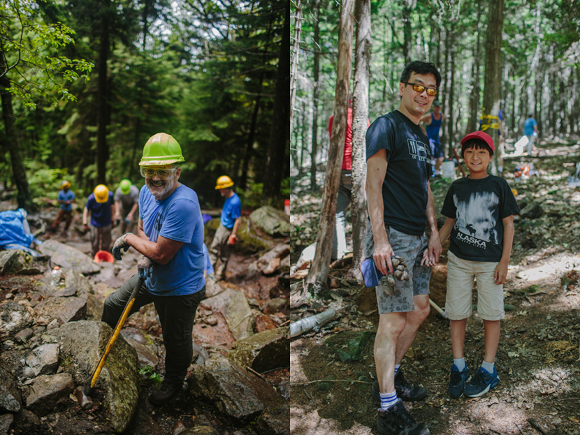 Smiling volunteers perform conservation work at Mount Monadnock State Park