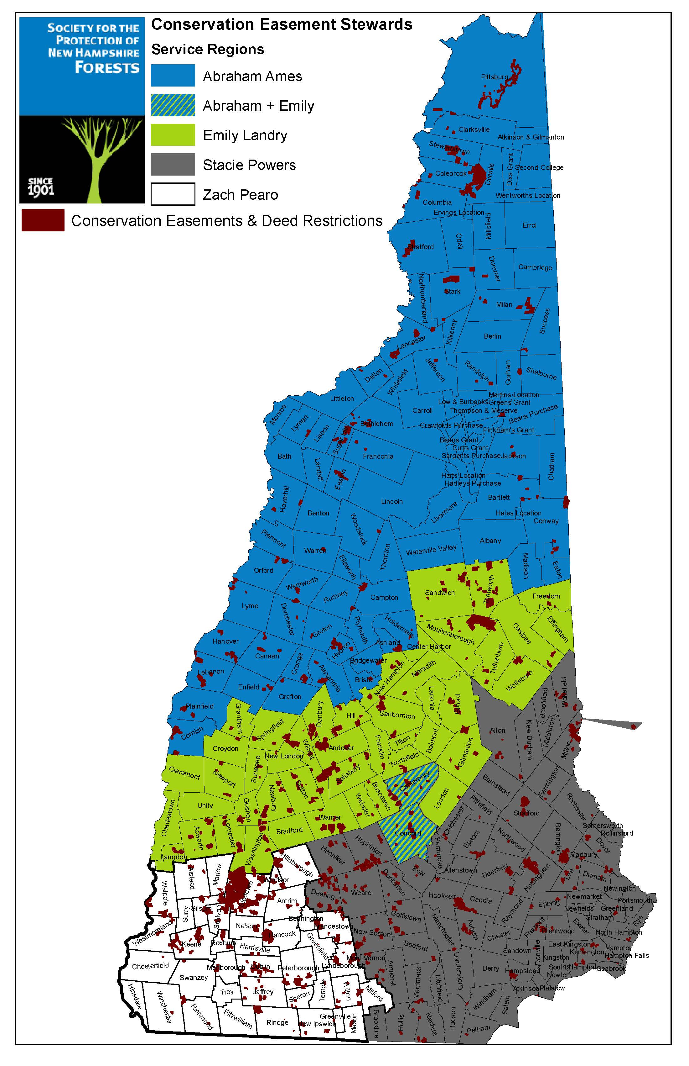 map of NH Forest Society easement steward regions