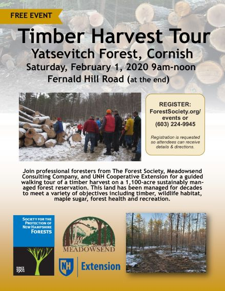 Poster announced a free timber harvest tour in Cornish.