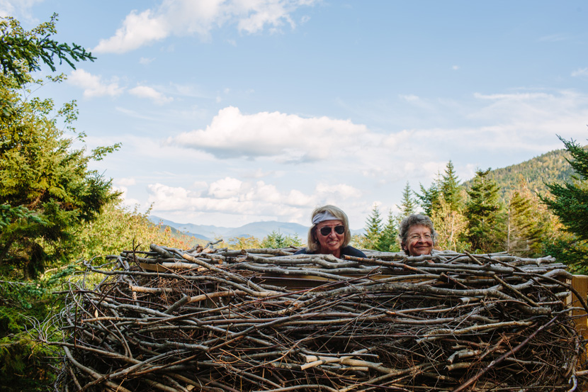 The bird's nest at Lost River Gorge offers views of the White Mountains in North Woodstock, NH