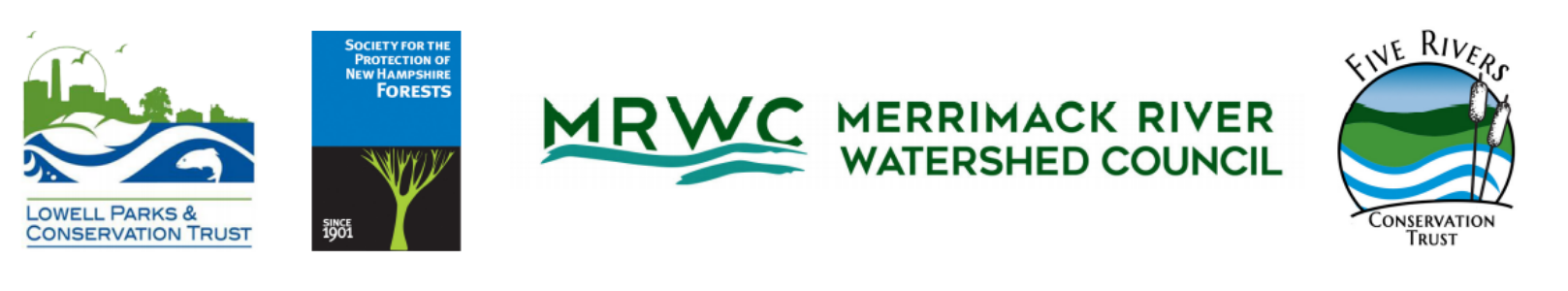 The four logos of the participating organizations in the Merrimack Paddle Challenge.
