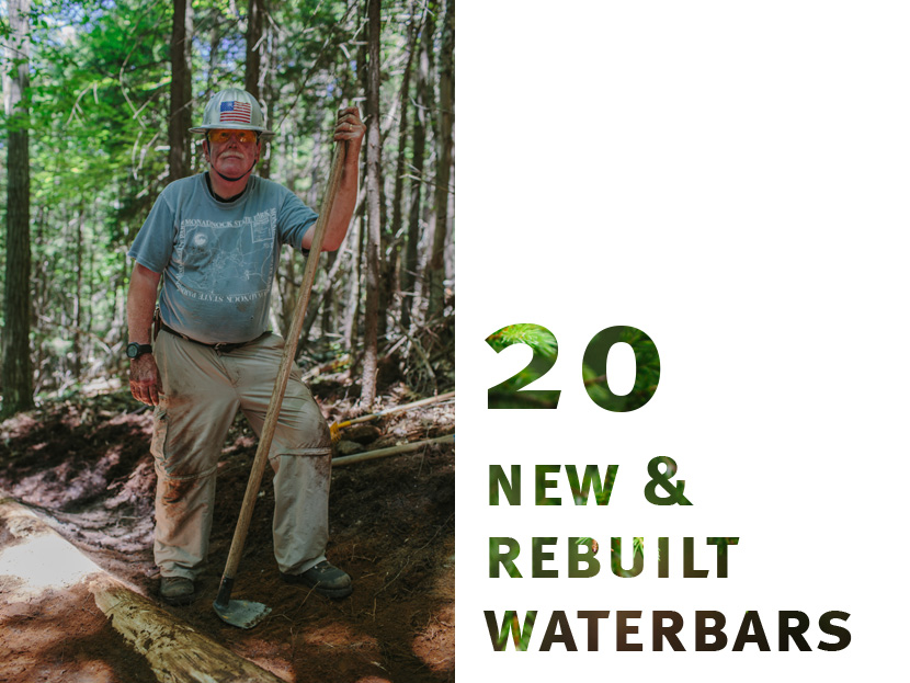 Volunteer Ray Jackson proudly displays one of the many new or reconstructed water bars