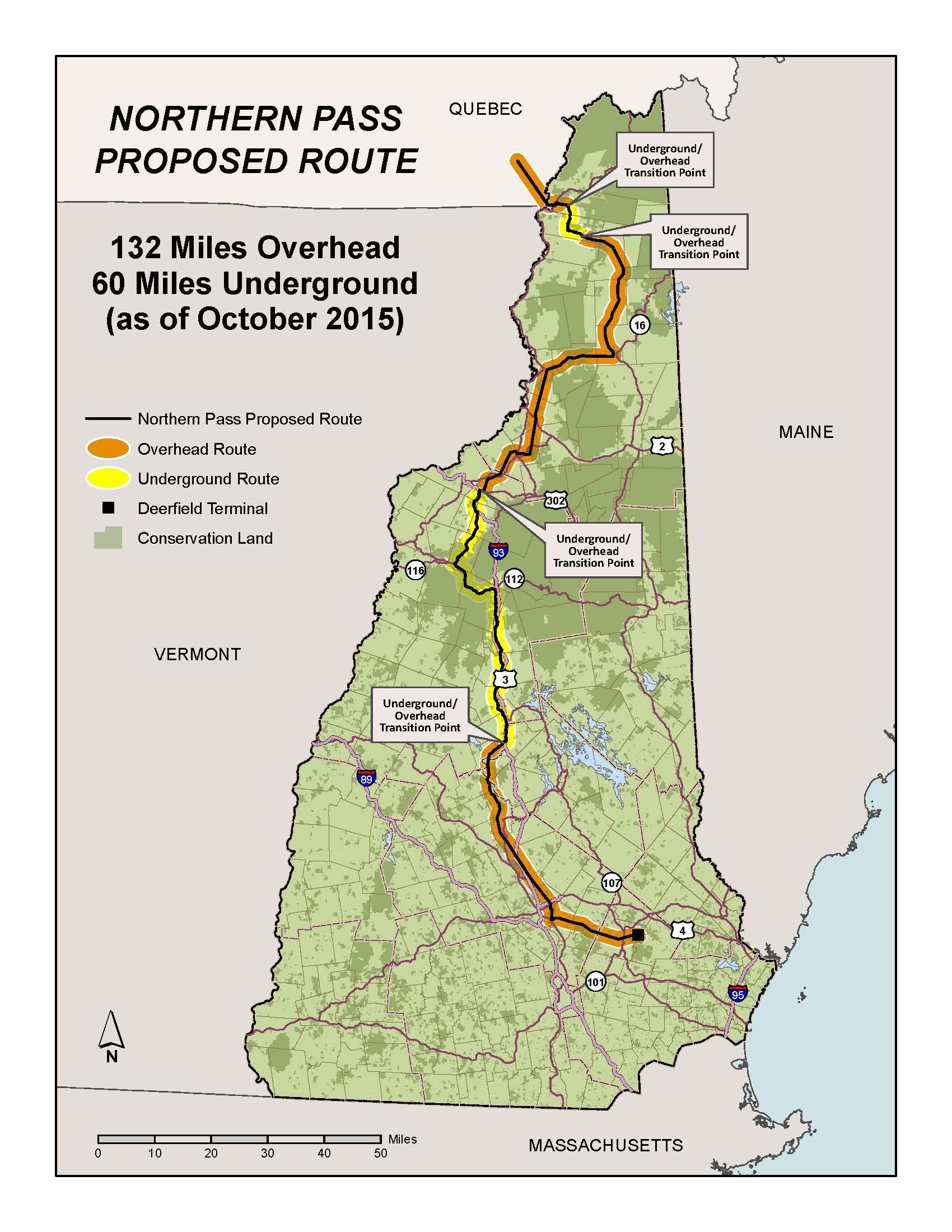 Northern Pass Proposed Route as of 2015