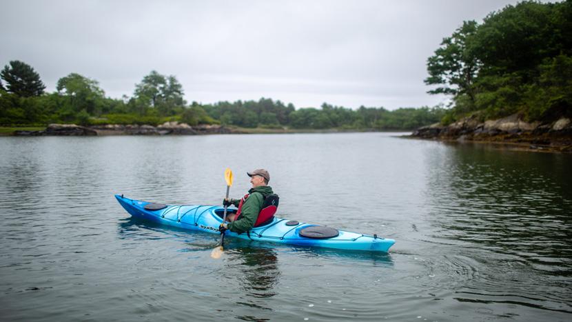 Kayak paddler in Portsmouth New Hampshire