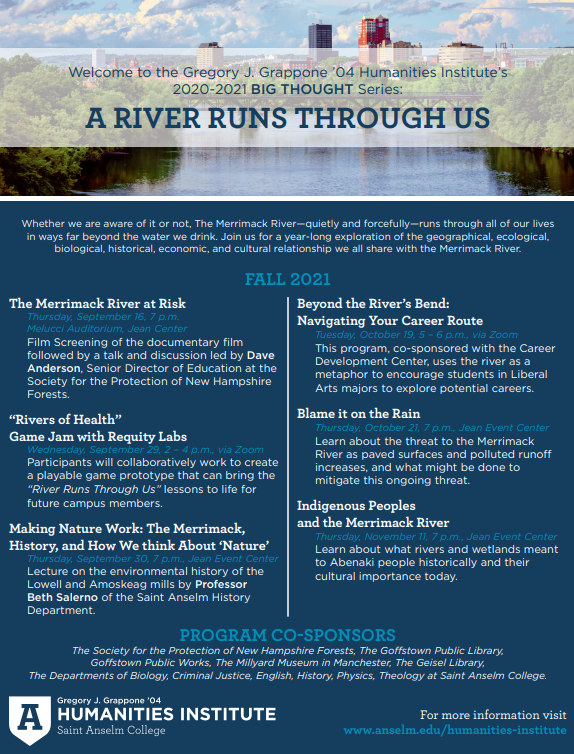 """A poster advertising events as part of Saint Anselm College's """"A River Runs Through Us Series"""" in fall 2021."""