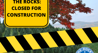 Yellow caution tape on top of a photo of The Rocks illustrates the ongoing closure through September.