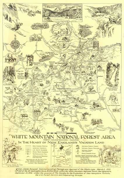 A hand-drawn map of the White Mountain National Forest from 1936.