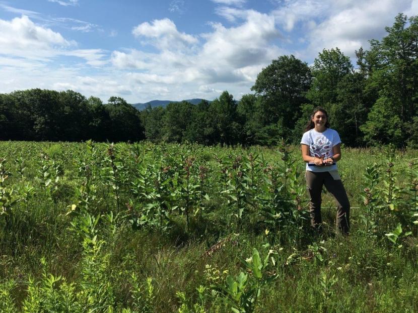 Researcher Katie Galletta standing in High Five fields.