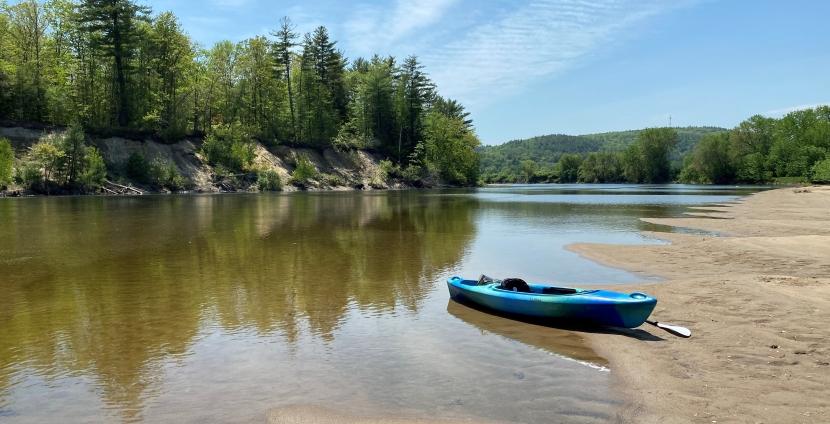 Kayak on a beach along the Merrimack River