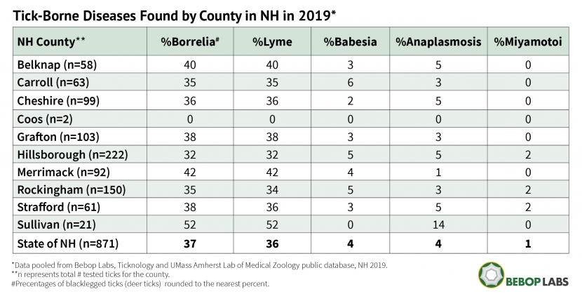A chart of tick-borne diseases found by county in NH in 2019.