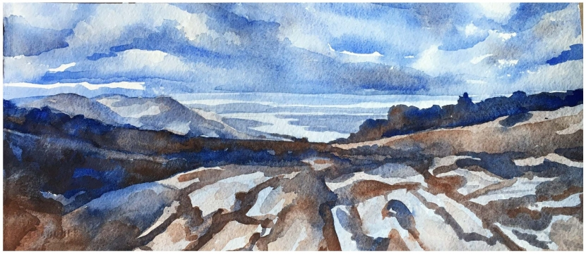 A watercolor painting at the Morse Preserve overlooking Alton Bay with a blue sky above.