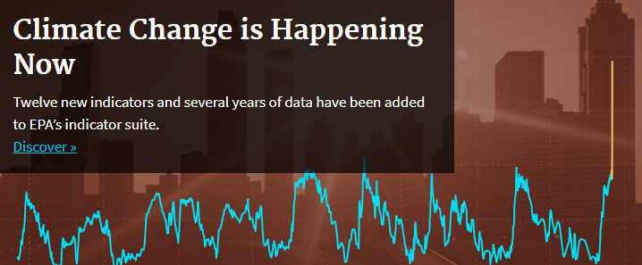 """EPA climate change graphic with buildings in back ground, reads """"Climate Change is Happening Now"""""""