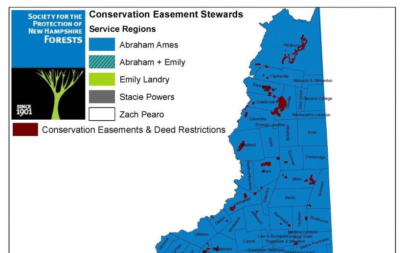 A preview of a color-coded map of areas served by easement stewards.