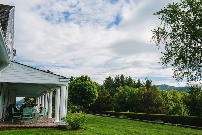 The scenic veranda at the Fells Historic Estate and Gardens.