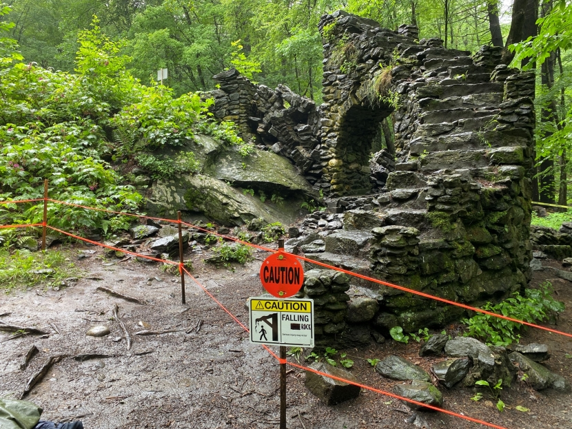 """The remains of Madame Sherri's """"castle"""" are roped off after the collapse of one of the arches of the stone staircase."""