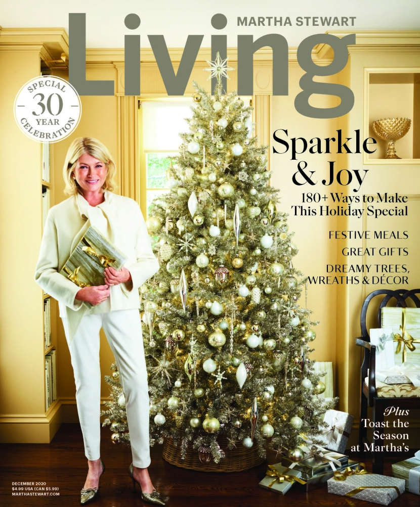 The cover of the December 2020 Martha Stewart Magazine with Martha standing in front of a Christmas tree.