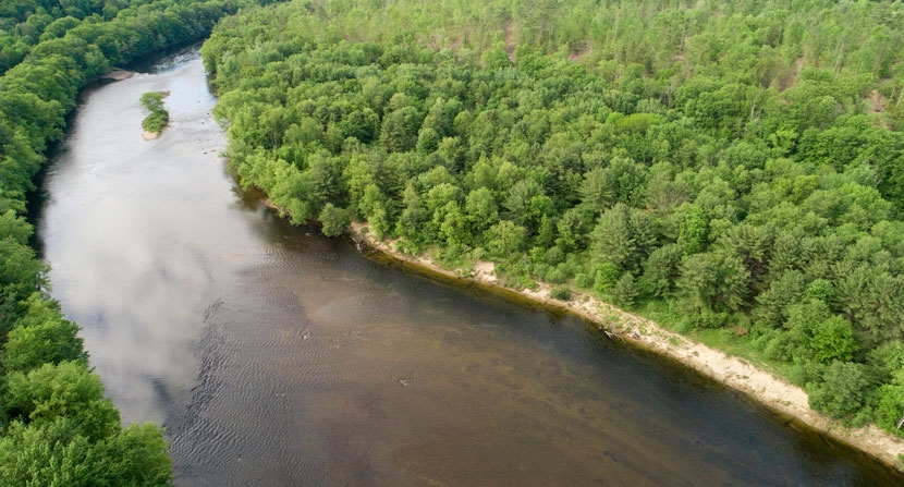 A bend in the Merrimack river lined with green trees from Stillhouse Forest.