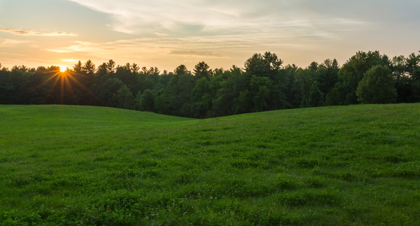 Sunset behind trees and an open field at Powder Major's Forest in Durham, Madbury, and Lee, New Hampshire