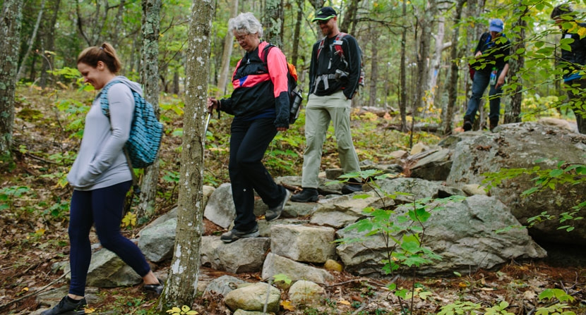 Forest Society members hiking at Moose Mountains Reservation in Middleton and Brookfield, NH