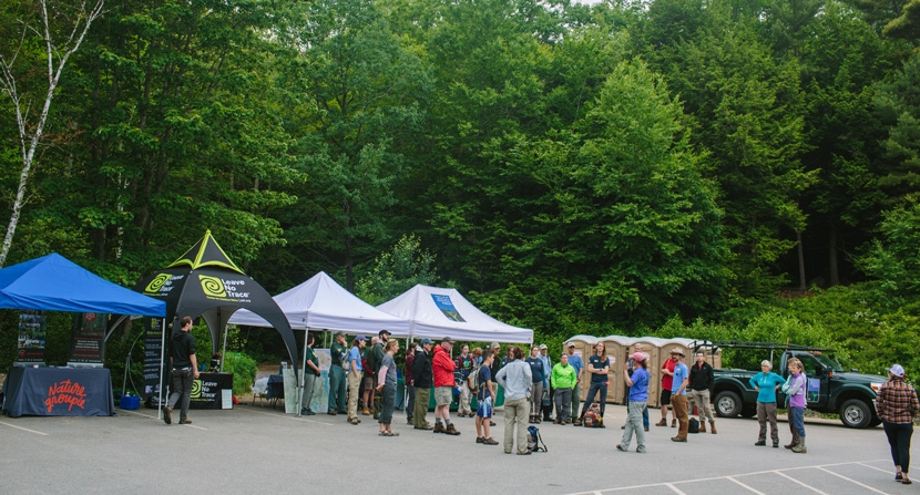 Volunteers and partner organizations at a service day to help the trails on Mount Major during a Leave No Trace Hot Spot Week