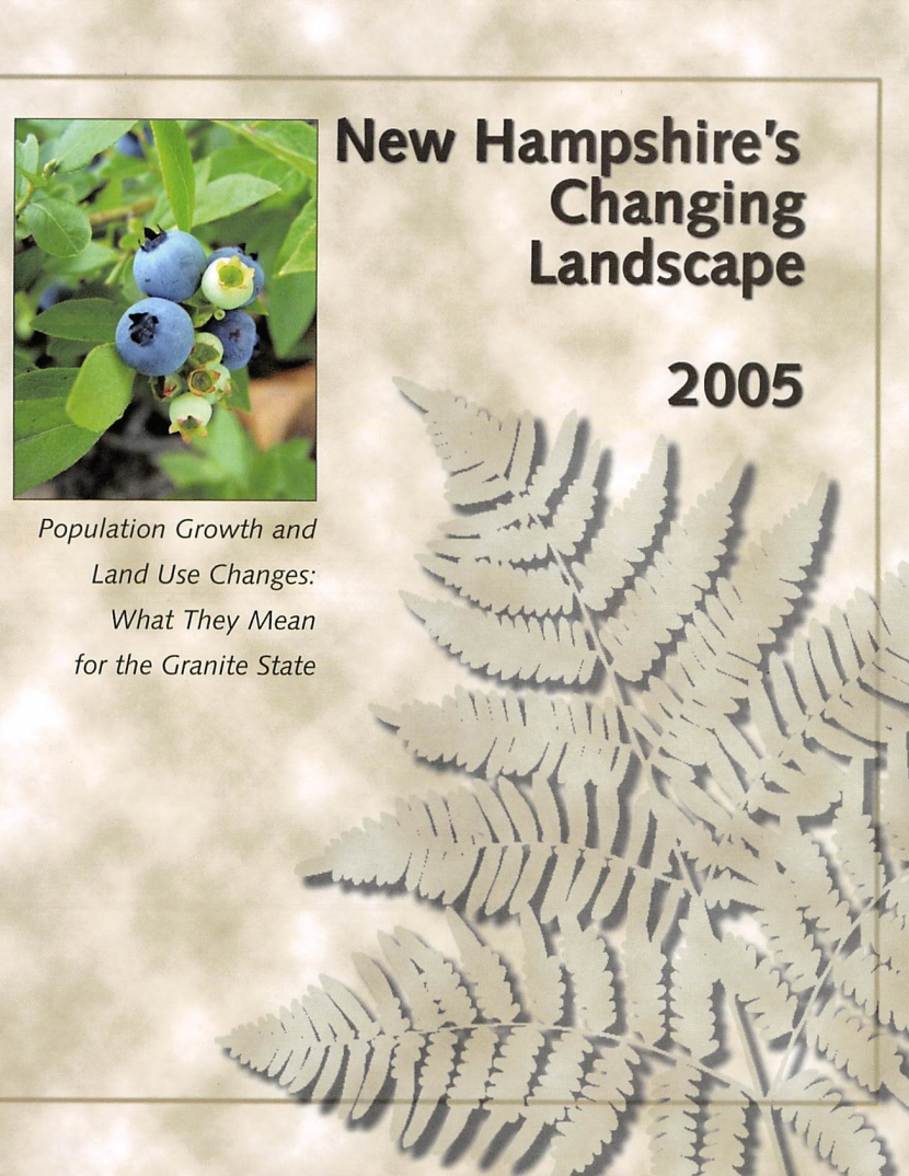 The cover of NH's Changing Landscape with a photo of blueberries.