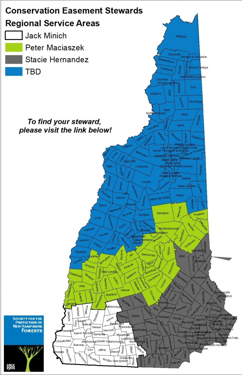 A map divided by region of each conservation easement steward's coverage area.