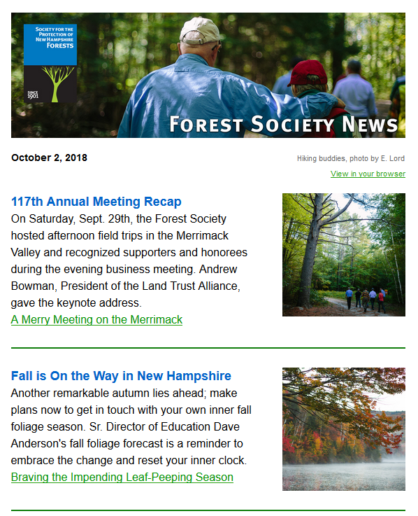 Tree Mail is the Forest Society's e-News