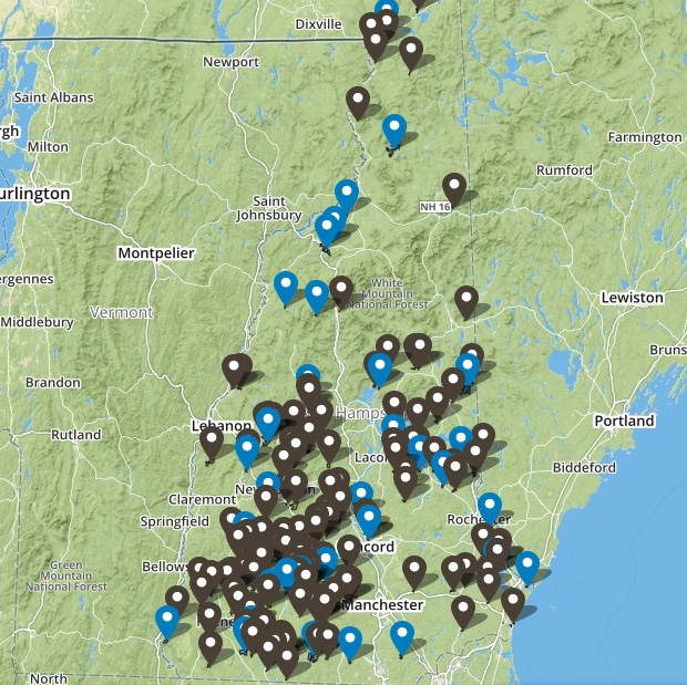 Map and guide to forest reservations in New Hampshire