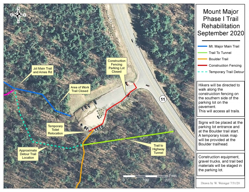 A map showing the temporary closures and detours during the Mt. Major construction project.