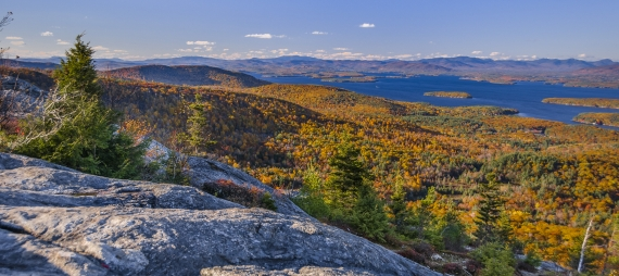 A sweeping view of Mount Major in autumn from the summit.