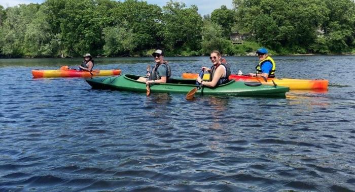 Paddlers on the Merrimack River