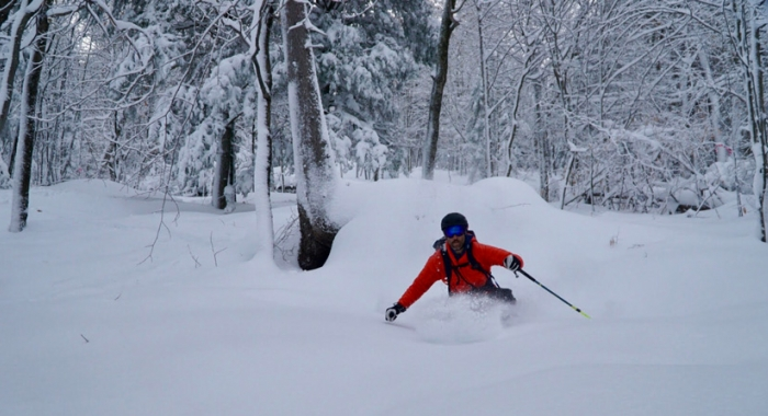 Backcountry skiier gets first tracks in glade called Intervale Dream in the White Mountains