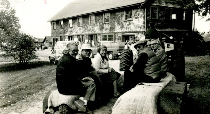 Forest Society members enjoy a tractor-drawn wagon ride at our 1978 Annual Meeting at The Rocks.