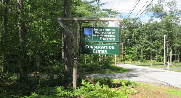 The Forest Society sign at the entrance to the Conservation Center.