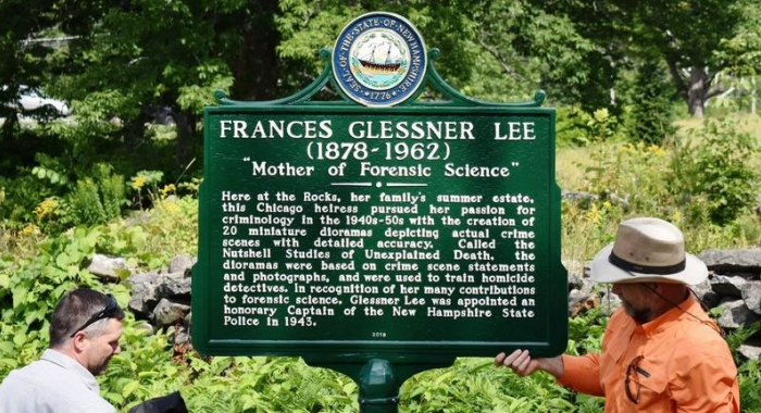 "Unveiling a NH Highway historical marker honoring the ""mother of forensic science"""