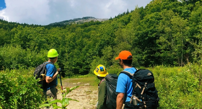 Looking back at the Mount Monadnock Summit after another successful Monadnock Trails Week