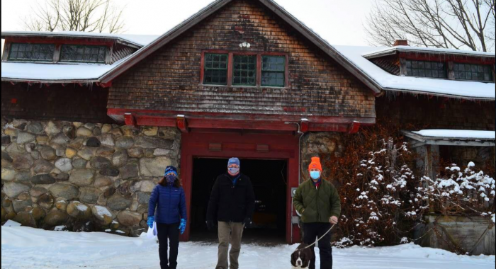 Forest Society staff on a site visit to the Carriage Barn at The Rocks in January 2020.