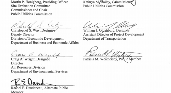 SEC signatures denying Northern Pass