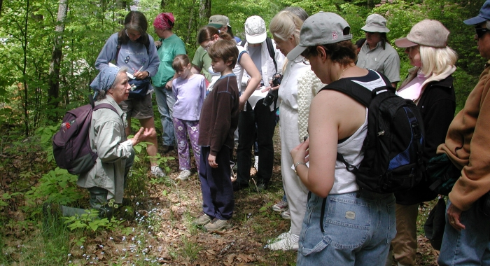 Volunteer Tanya Tellman leads a tour on Wildflower Day In Bethlehem in 2004.